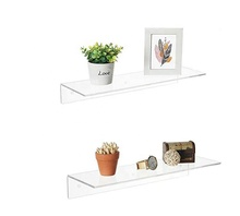 17 Inch Clear Acrylic Floating <strong>Shelves</strong>, Wall Mounted Display Racks
