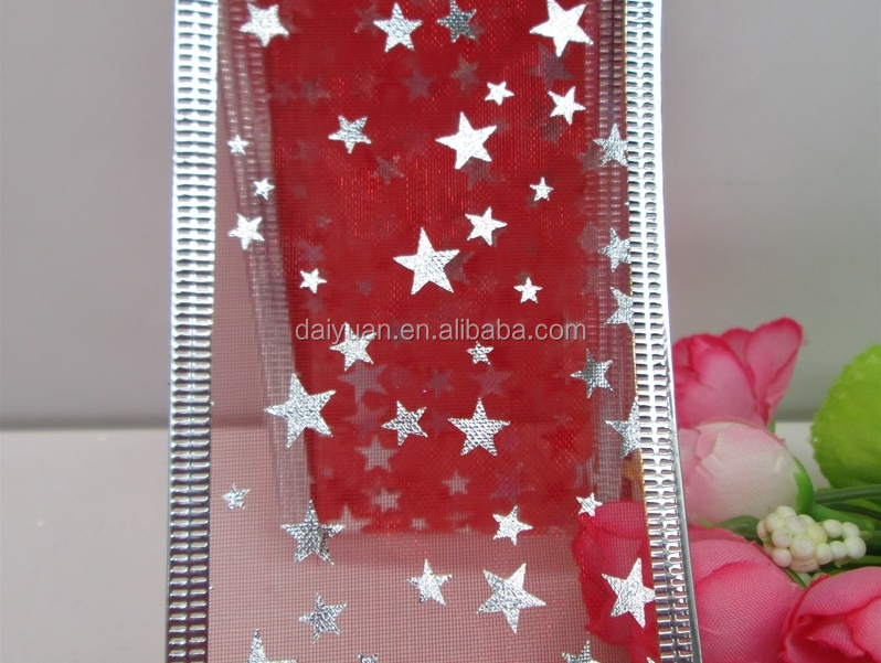 Hot Sale Silver star Wiredr Organza Ribbon Christmas ribbon
