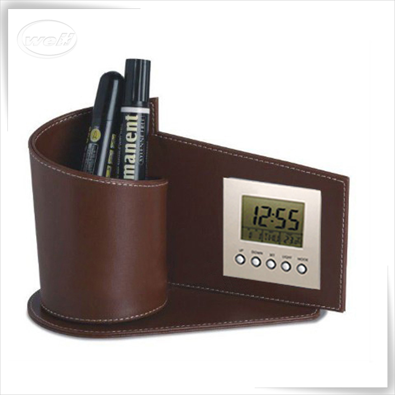 Customized office pu leather pen holder with digital clock manufacturer
