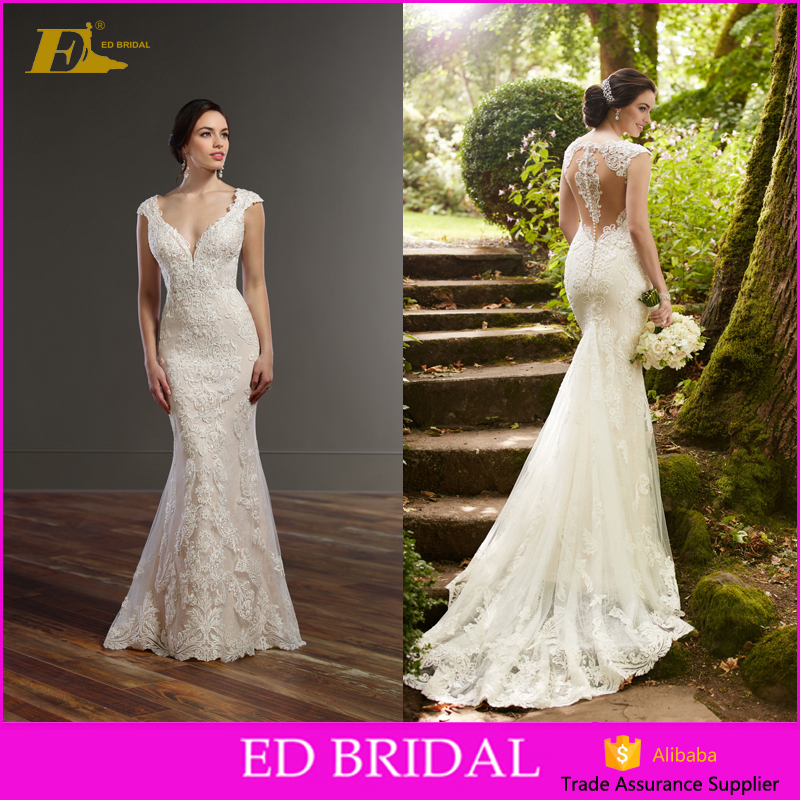 Fishtail Cut Cap Sleeve Appliques Over Lace Fabric Union Fashion Gown Bridal Luxury Wedding Dress