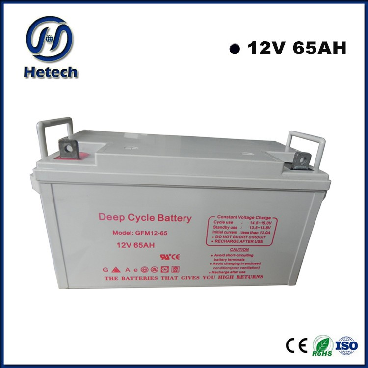 Hetech 2016 high quality 12V 65Ah gel battery for good price