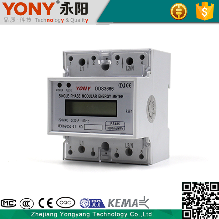 Overload Detection High Quality Modbus Single Phase Din Rail Energy Meter