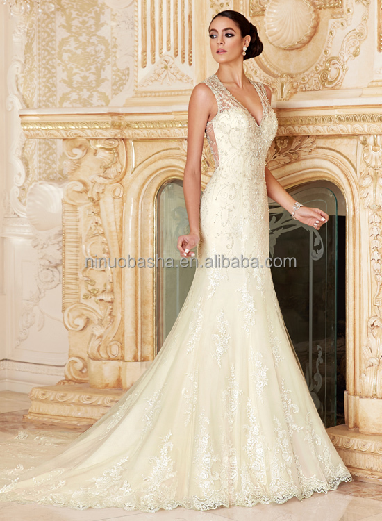 Expensive Heavily Beaded Mermaid Wedding Dress V Neck Sheer Back Long Tail Lace Bridal Gown