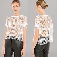 2014 new design for women sexy sheer mesh top