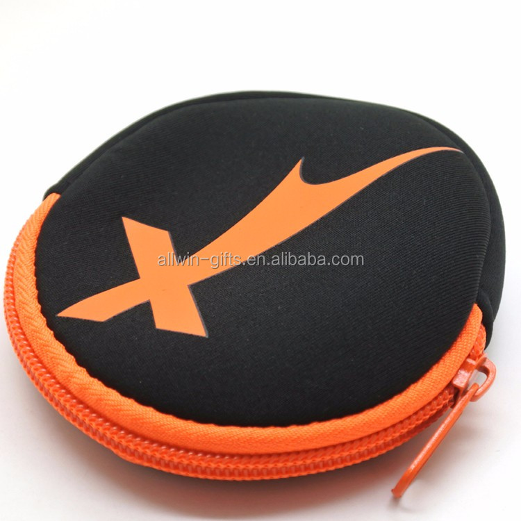 Custom zipper soft small neoprene coin pouch with carabiner