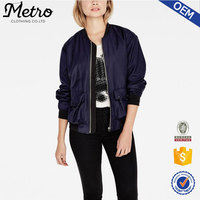 Women Bomber Jackets 2016 polyester and viscose blending custom made