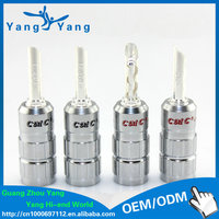 HI-END silver plated banana plug with fixed screw and stacking sockets banana head