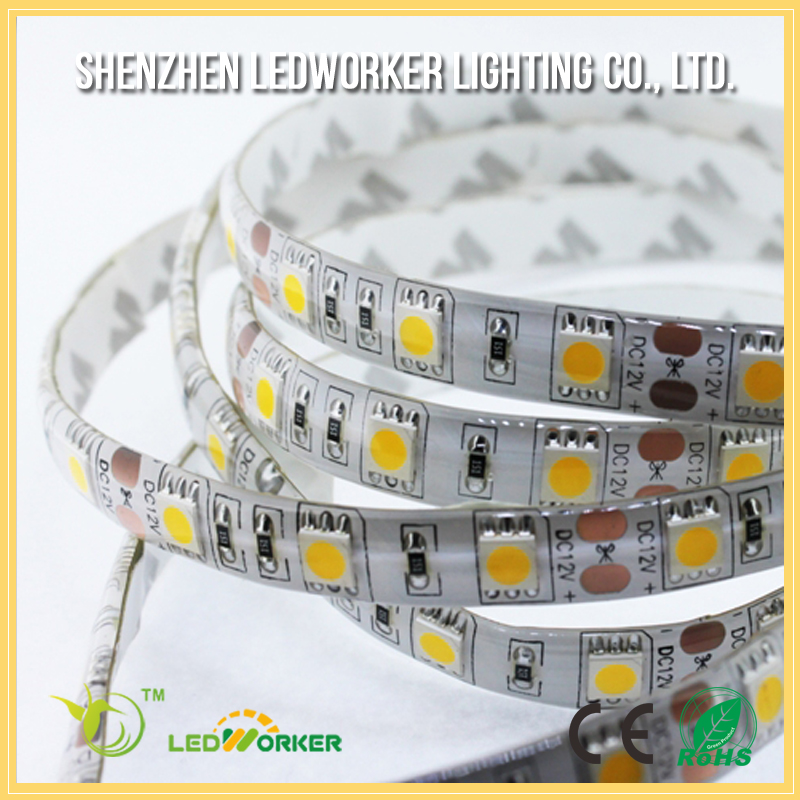 $4.32/roll Cheapest LED strip SMD 5050 ip65 CW WW PW 60led/<strong>m</strong> DC12v/24v with CE RoHS
