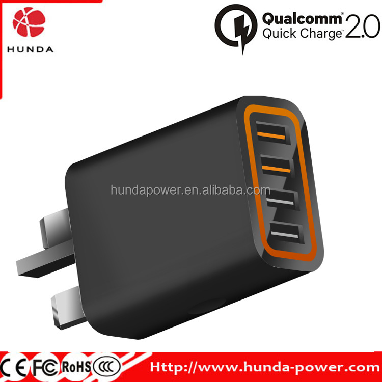 Quick Charge 2.0 28W Multi-Port USB Desktop Charger, Charging Station Dock, 2 Port QC2.0 + 2 Port with Smart IC Technology