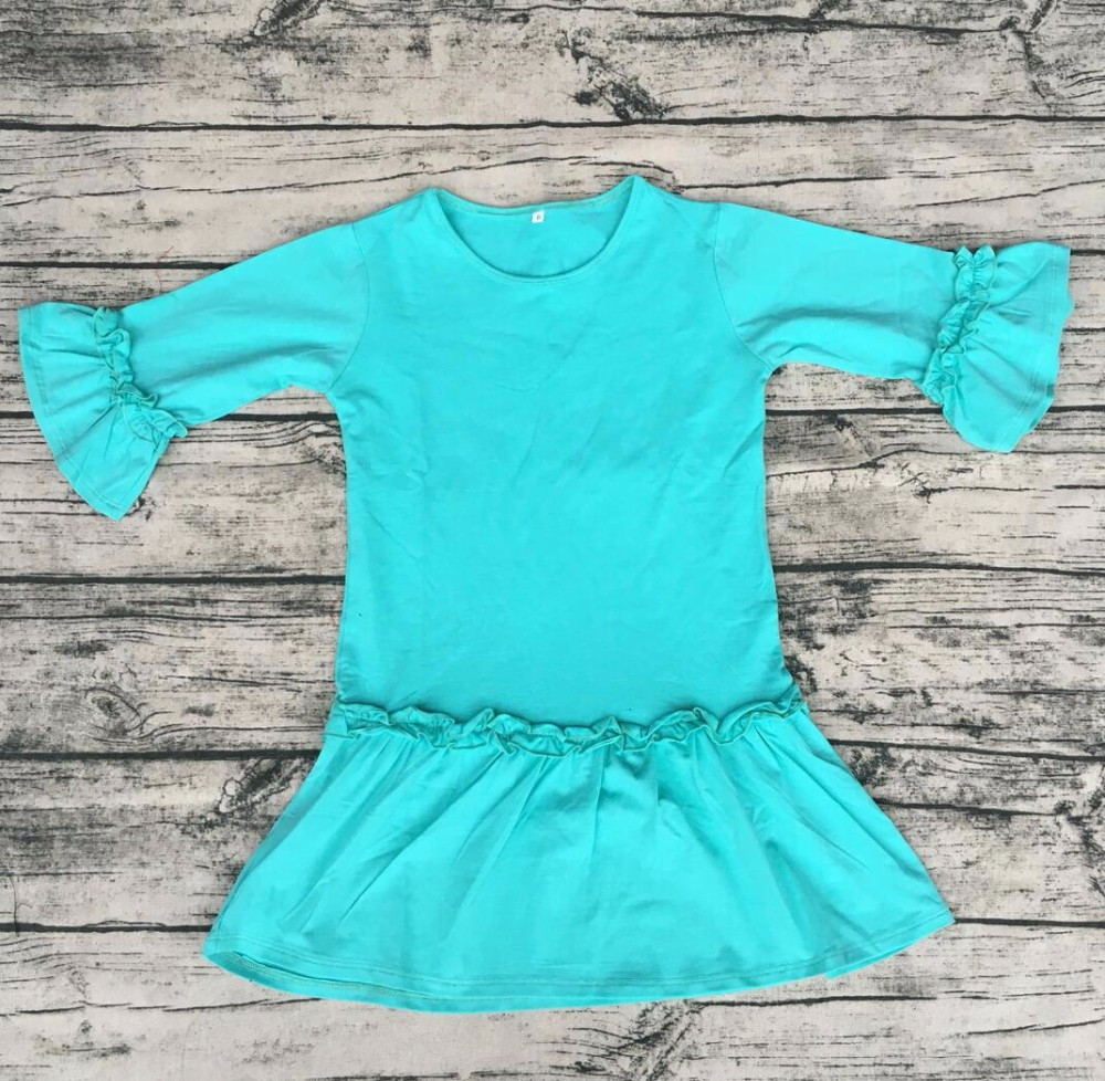 baby frock design pictures Wholesale fashion design kid mint Ruffle Party Dresses new girls cotton knit ruffle smoking dresses