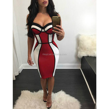 L1482A Ladies Latest Summer Cheap Sexy Red White Splicing Open Back Bodycon Midi Dresses 2017