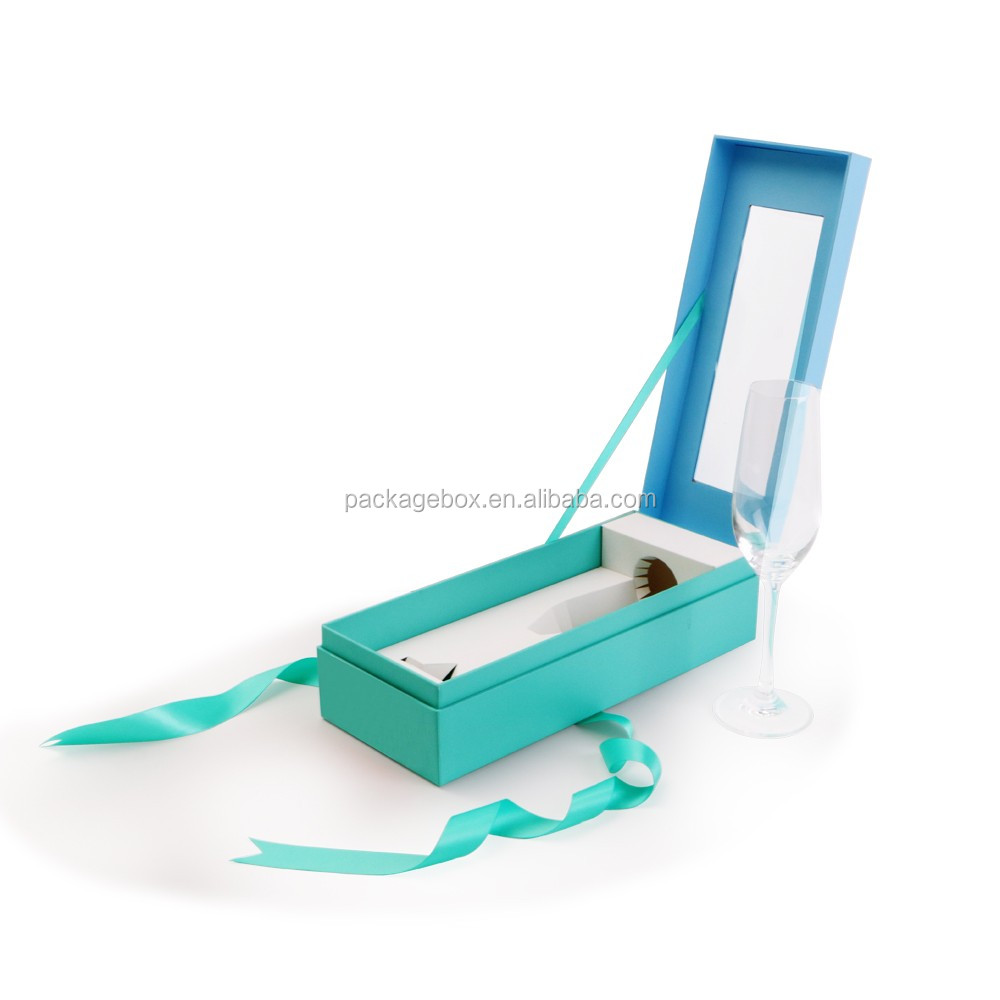 Tiffany blue color Ribbon folding box ribbon closures gift box with ribbon closure