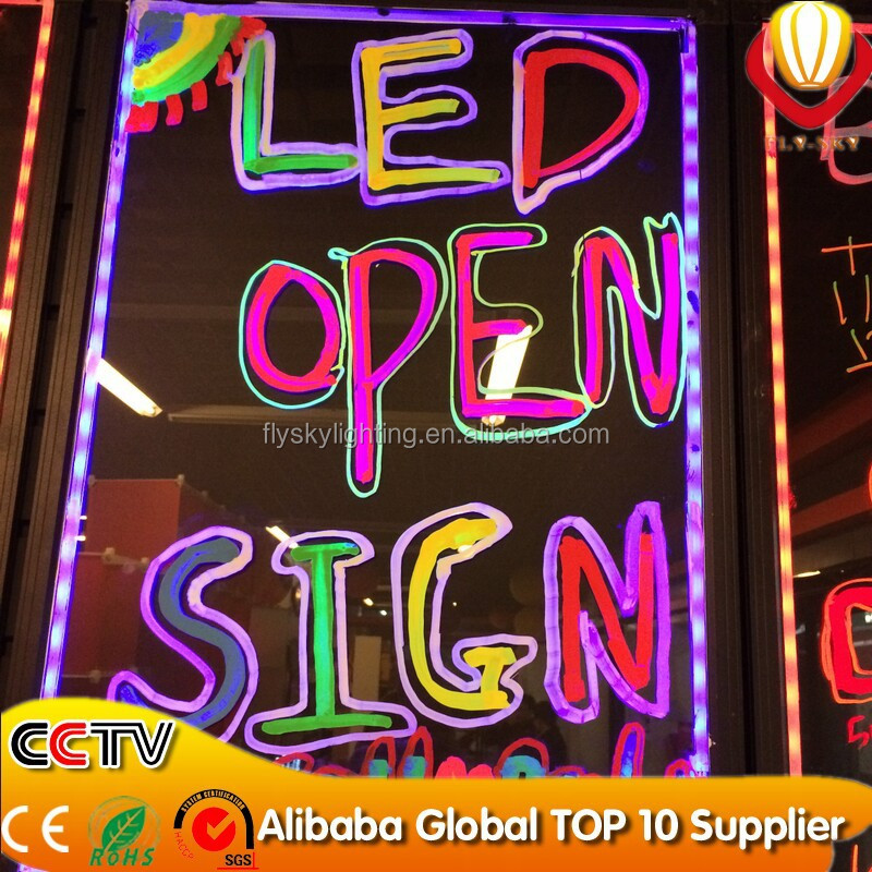 high quality new arrival neon led writing boards LED display board with remote control and marker pen hot sell 48 Flash Modes