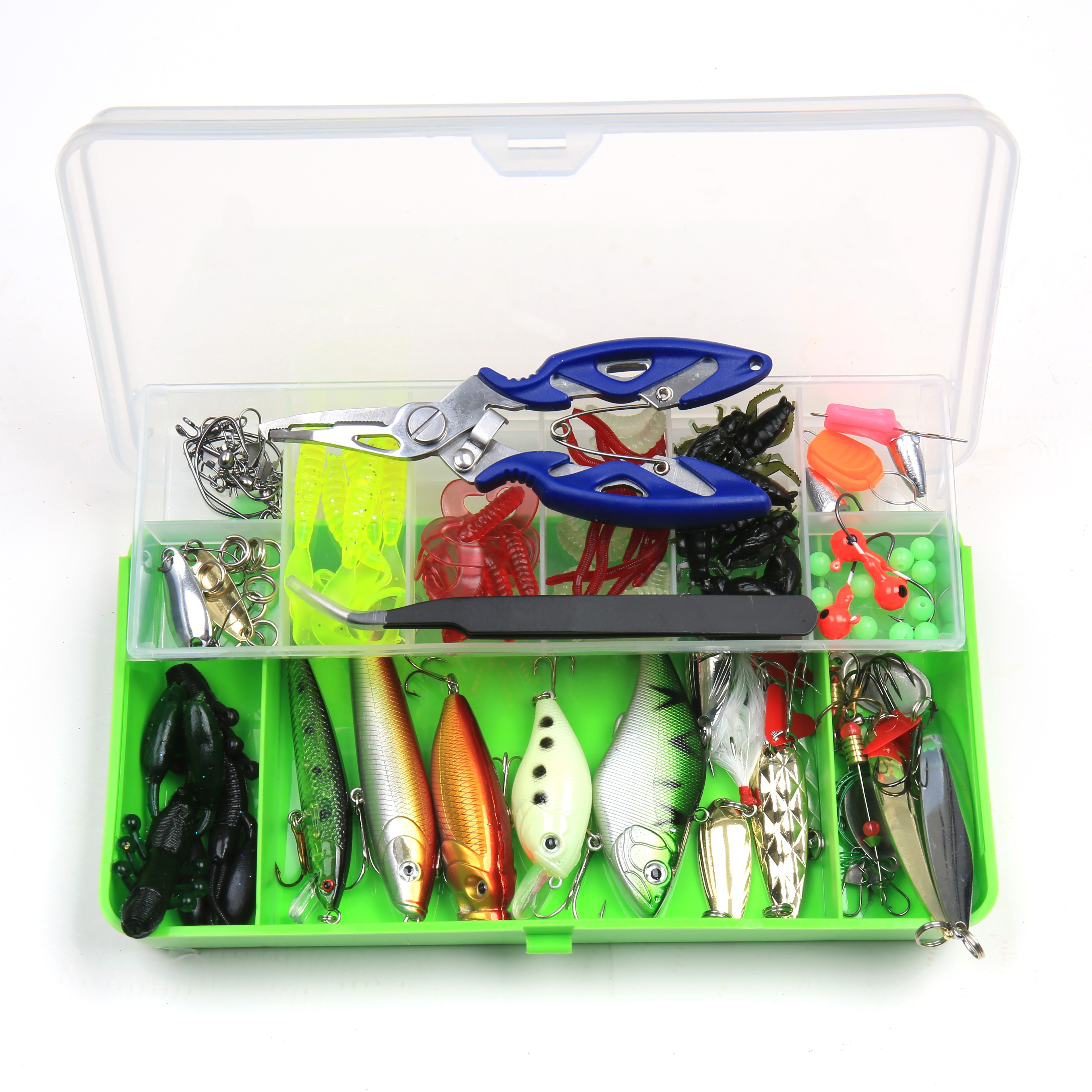 <strong>102</strong> Pcs Including Plastic Insects Frogs Fishing Baits Set for Bass Catfish