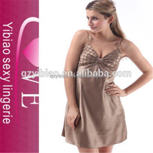 China wholesale mature woman sexy babydoll brown satin sexy lingerie
