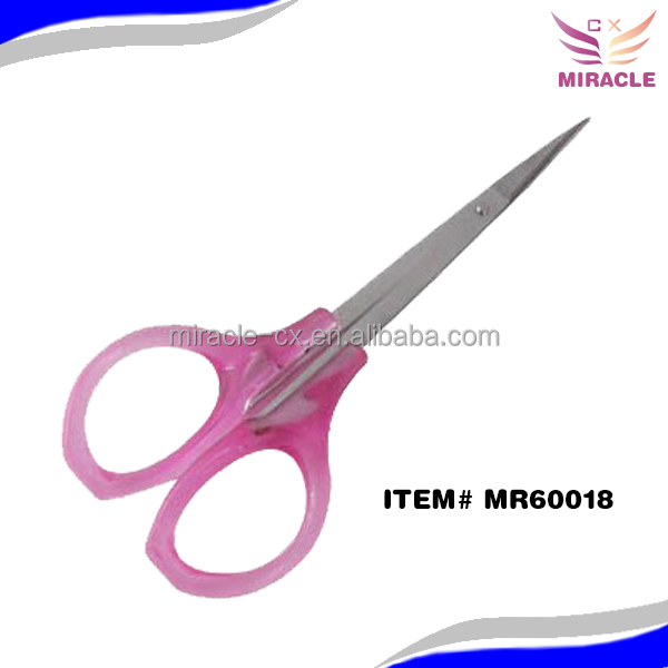 Nose hair scissors stainless steel and pastic handle nail scissors ear hair scissors