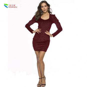 YIZHIQIU Velvet Bronzing Square Collar Puff Sleeve Nightclub Tight Sexy Woman Dress