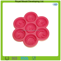 Cute Smiling Face Design 7-Grid wholesale Silicone Ice Cube Tray