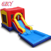 Commercial inflatable bouncy castle with water slide pool, jumping castles inflatable water slide