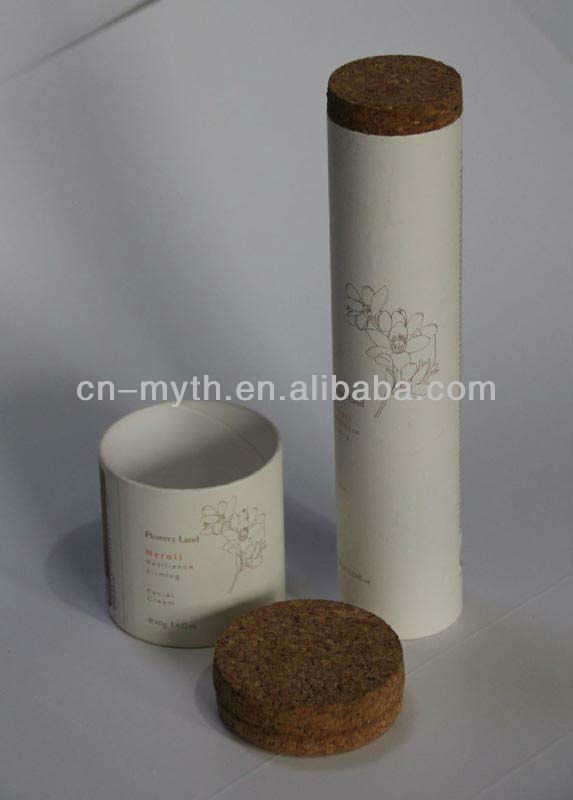 paper fiber tube with wood lid for cosmetic package