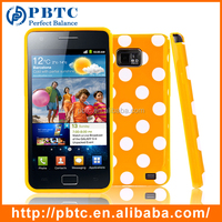 Set Screen Protector And Case For Samsung Galaxy S2 I9100 , Polka Dots Wholesale Cell Phone Accessories