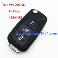 car flip key 5K0 837 202AD 202Q 202H for vw golf Sagitar polo 3 button remote key 433mhz with id48 chip uncut key blade hu66