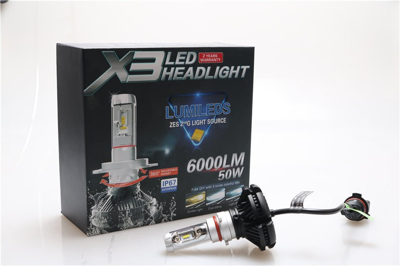 Milan auto part X3 led coversion kits 6000lm 50w psx26 led headlight bulb