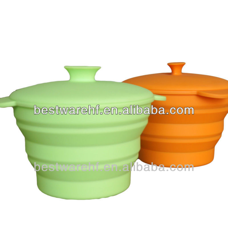 Hot sale folding Silicone Bowl,Silicone Soup Bowl custom with FDA lids