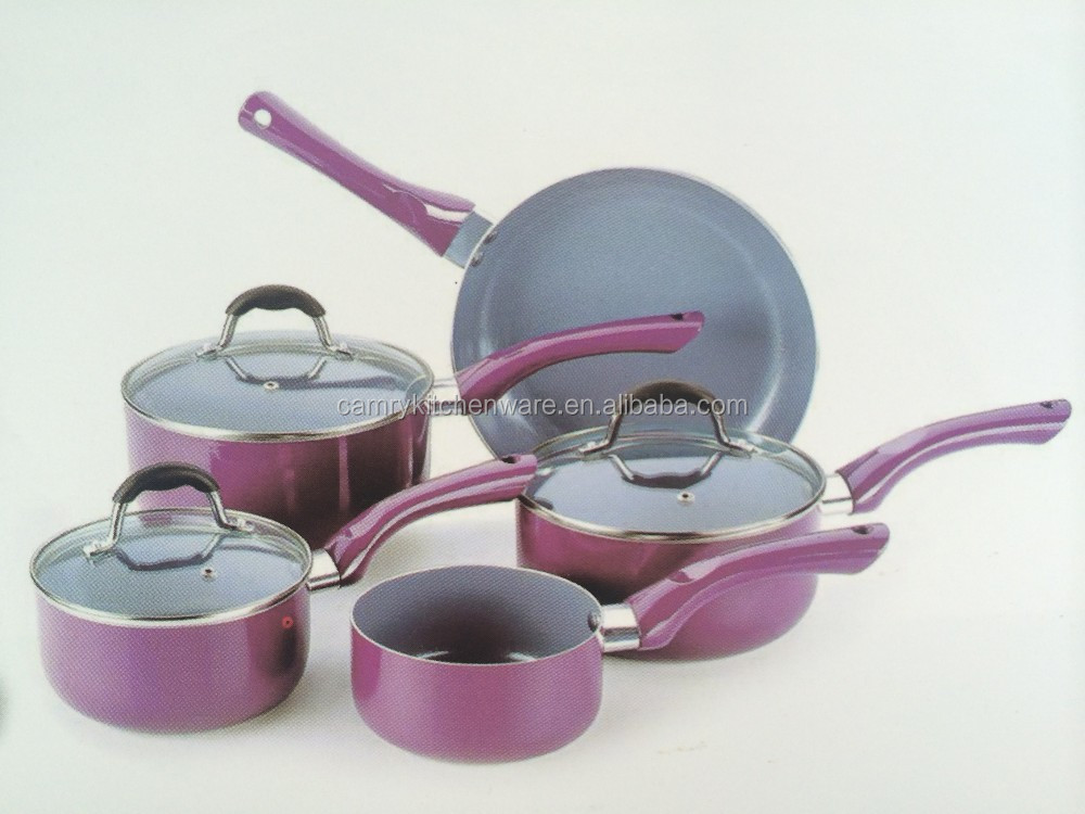 8pcs aluminum nonstick purple prestige cookware set