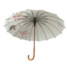 Auto Open Windproof Straight Wooden Umbrella For Promotion