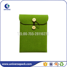 Custom Made Green Flap Felt Carry Bag With Button Closure