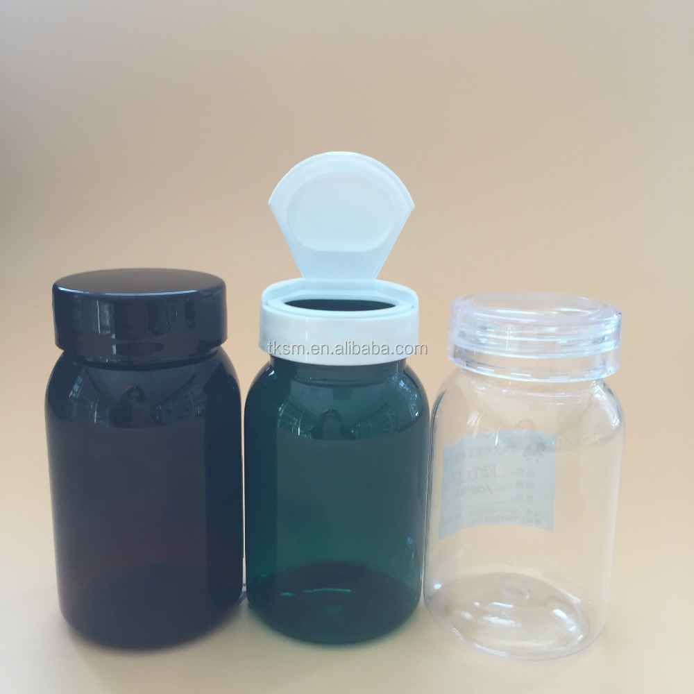 Hot Sale, 100cc round tawny,green,transparent,pill,renovate PET bottle.