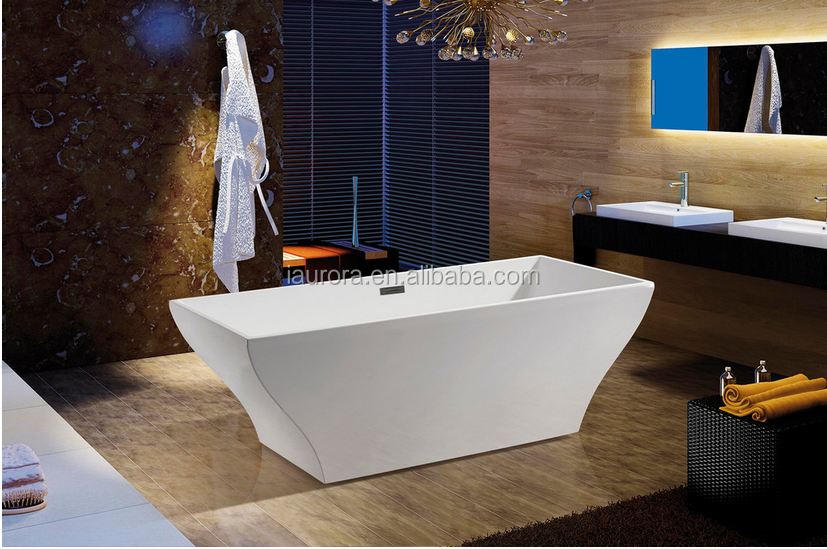 Rectangular European Style Soking Hot Bathtub Free