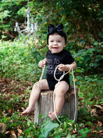 Baby Born To Wear Diamonds Rhinestone Black Bodysuit Jumpsuit Bow Headband 0-12M