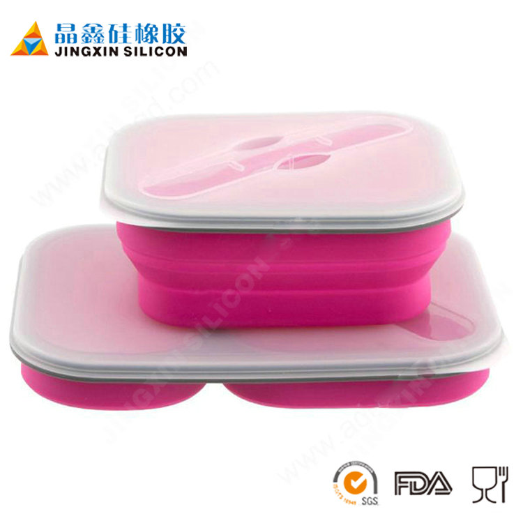 wholesale folding biodegradable bento box and custom recyclable japanese foldable silicone bento lunch box with dividers