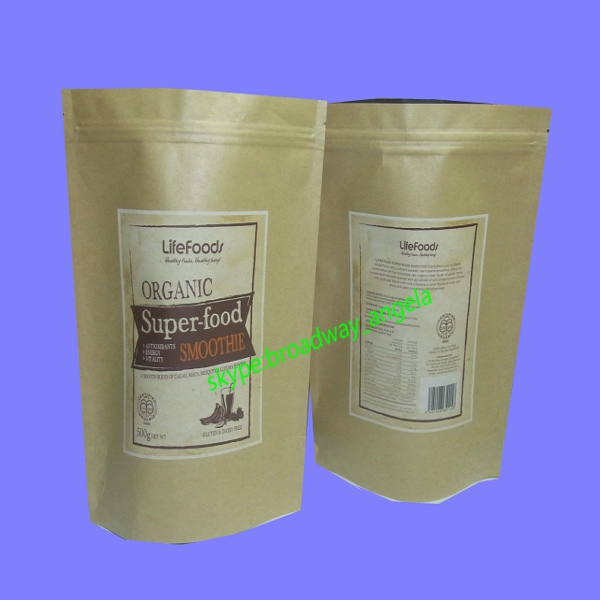 custom made biodegradable zipper brown kraft paper bag for jerked beef /snacks