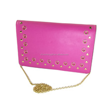 2017 newest fuxia woman PU leather handbag