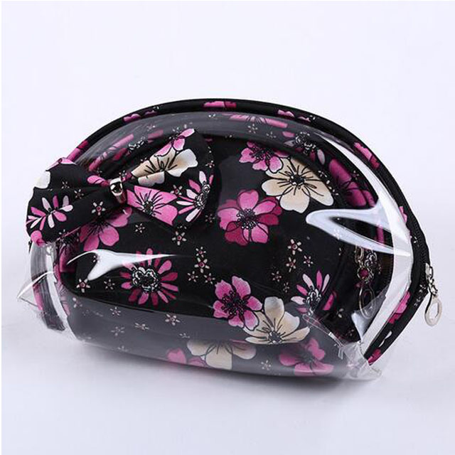 Transparent PVC Flower Waterproof Toiletry Wash Cosmetic Bag Pouch