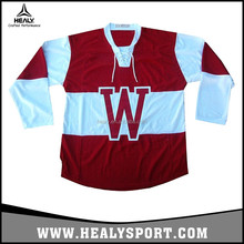 100% Polyester Rib-knit collar Wisconsin Badgers College Hockey Jersey