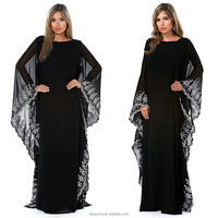 BY12 quality new women butterfly turkey kaftan black abaya models in dubai