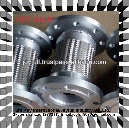 stainless steel 304/316 corrugated flexible metal hose with flange