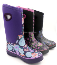 Waterproof Flower Printed Comfortable Warm Neoprene Rubber Women Rain Boots With Hole