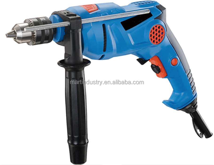 910 watt 240v Impact Rotary Hammer Drill 13mm Key Chuck Variable Speed Control - with Side Handle and Depth Gauge in Carry Case