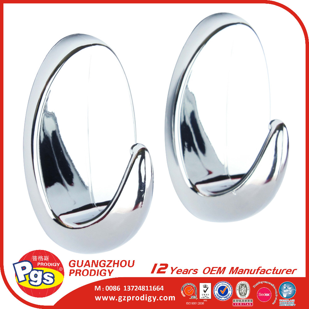 round self adhesive chrome finish small plastic hook