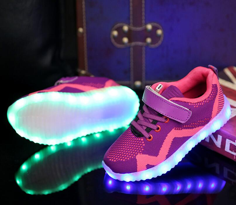 High quality new design flyknit LED rechargeable LED kids light shoes