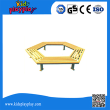 KidsPlayPlay Modern Style Curved Decorative Outdoor Park Wood Metal Bench