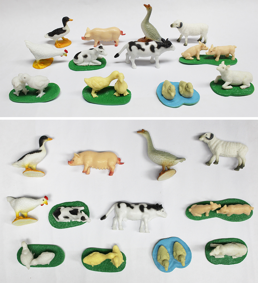 12 kinds Farm animal model set plastic toy promotion 2017