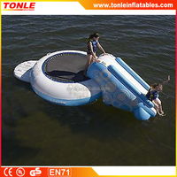 high quality inflatable Water Trampoline Slide Floating Outdoor Bouncer Lake Sports Toy Kid Pool Float