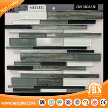 Ramdom Strip Glass Metallic Blend Mesh-Mounted Mosaic Tile black white (M855331)
