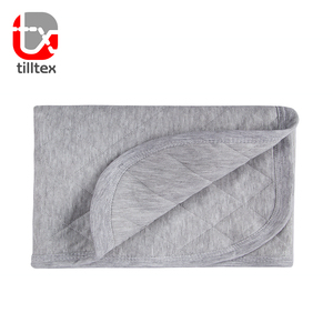 100% Breathable gray jersey cotton blankets organic baby blanket